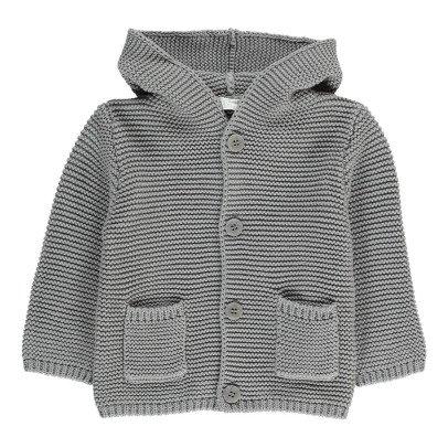 Il Gufo Moss Stitch Hooded Cardigan-listing