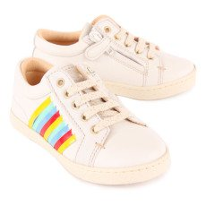Ocra Contrast Band Zip-Up Leather Trainers-listing