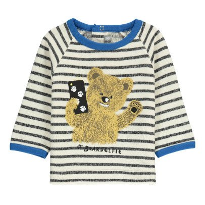 Milk on the Rocks Selfie Recto Verso Striped Bear Sweatshirt-listing
