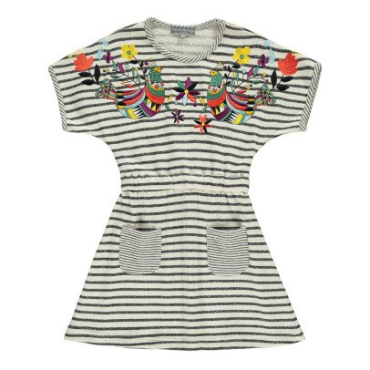 Milk on the Rocks Domo Embroidered Stripe Dress-listing