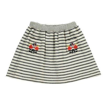 Milk on the Rocks Sea Embroidered Stripe Skirt-listing