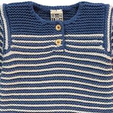 Bonton Striped Moss Stitch Jumper-listing