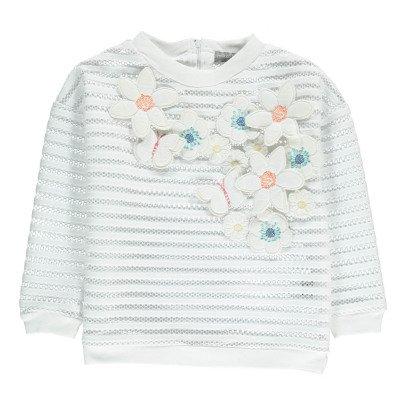 Milk on the Rocks Sweatshirt mit Blumenstickerei Santiago -listing