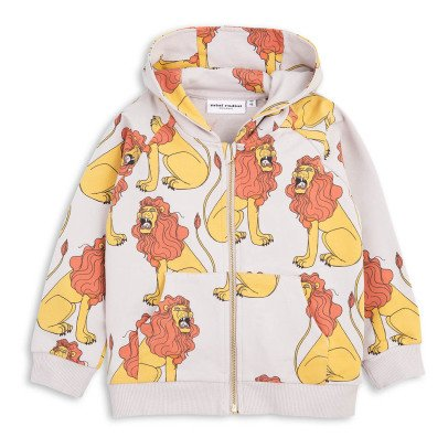 Mini Rodini Organic Cotton Lion Zip-Up Hoodie-listing
