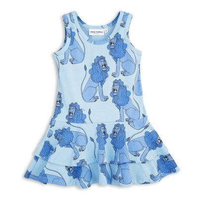 Mini Rodini Organic Cotton Lion Ruffled Dress-listing