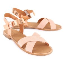 Anthology Paris Bale Crossed Iridescent Leather Sandals-listing