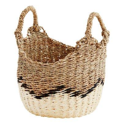 Madam Stoltz Pompom Round Straw Storage Basket-listing