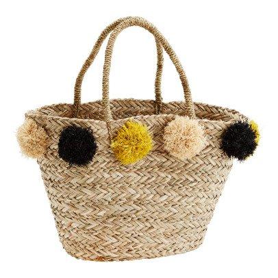 Madam Stoltz Pompom Straw Basket-listing