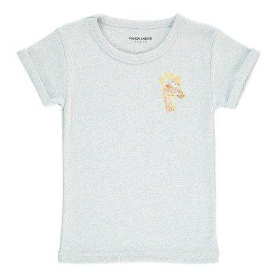Maison Labiche Camiseta Bordada jaspeada Jirafa Azul Pálido-listing