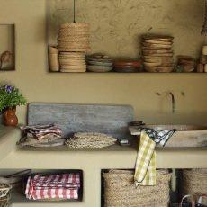 Maison de vacances Torchon Bourdon toile mimi vichy 48x75 cm Melon-listing