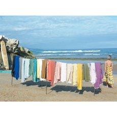 Maison de vacances Decke mit Franzen aus Leinen rosa -listing