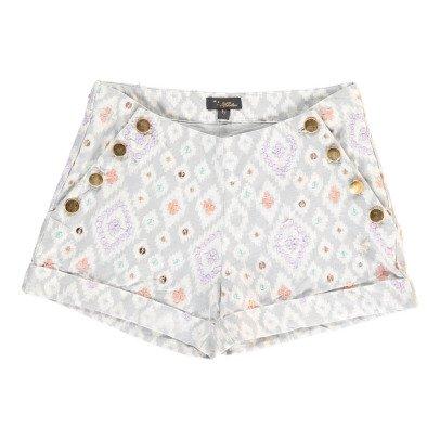 Velveteen Shorts Chambray Ikat Carmen -listing