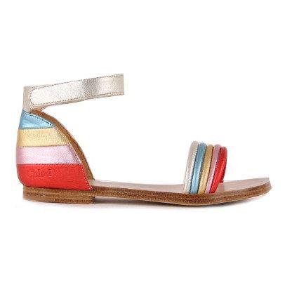 Chloé Iridescent Multicolour Plaited Leather Sandals-listing