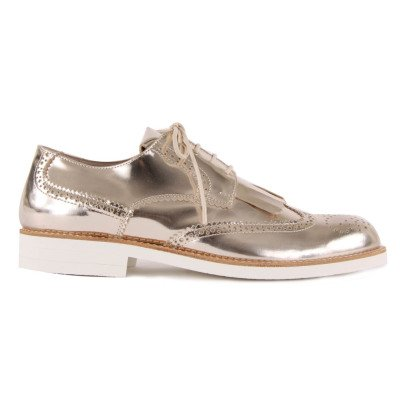 Gallucci Fringed Metallic Leather Derbies-listing