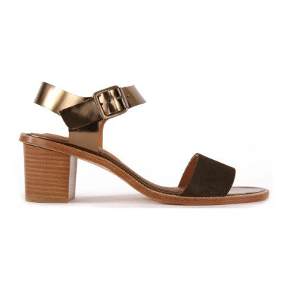 Anthology Vadim Iridescent Leather and Suede Heeled Sandals-listing