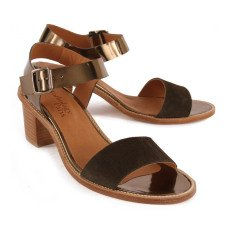 Anthology Paris Vadim Iridescent Leather and Suede Heeled Sandals-listing