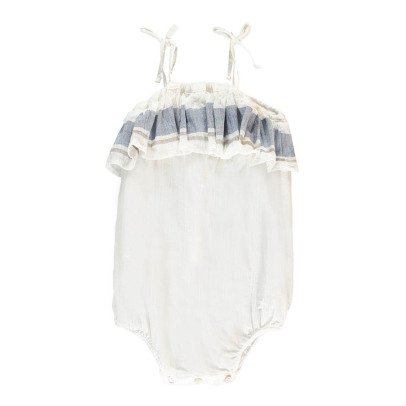 Tocoto Vintage Striped Ruffle Romper-listing