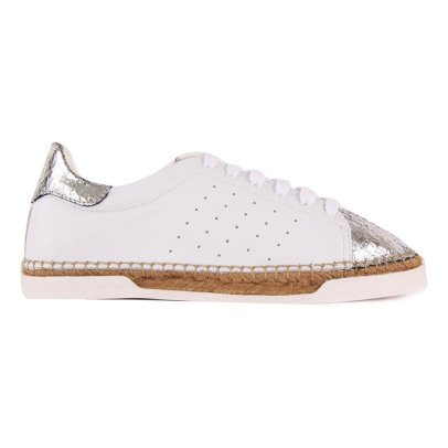 Canal St Martin Lancry Cracked Silver Trainers with Heels-listing