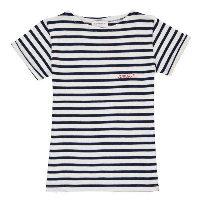Maison Labiche T-shirt Righe Ricami Amour-listing