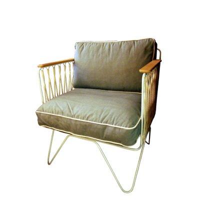 Honoré Grey Cotton White Croisette Armchair-listing