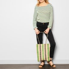 Soeur Brownie Striped Raffia Bag-listing
