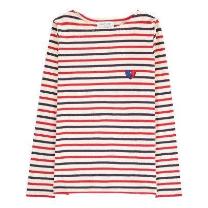 Maison Labiche T-shirt Righe Ricami Cuore spezzato-listing