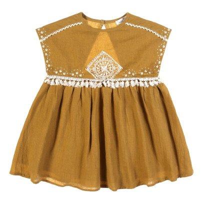 Louise Misha Kleid aus Leinen und Baumwolle Bommel -listing