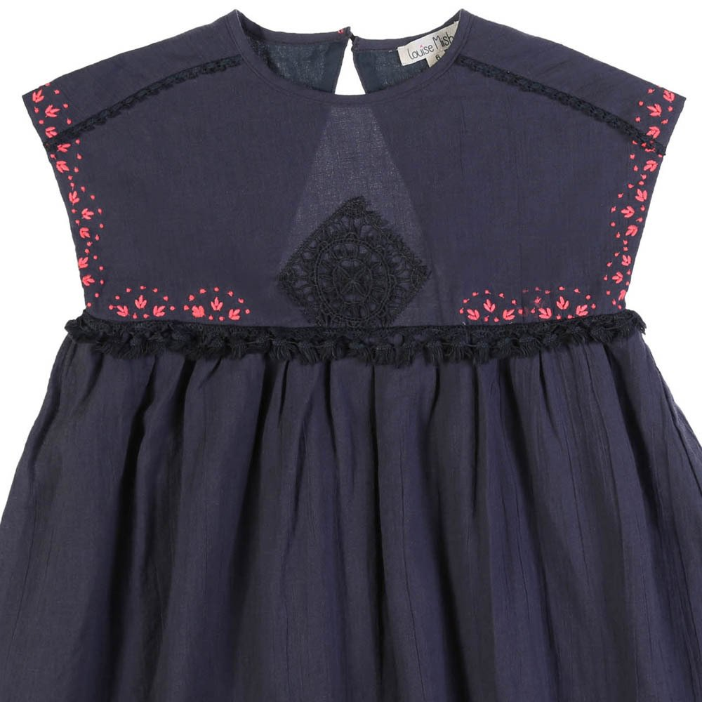 Louise Misha Pompom Embroidered Cotton and Linen Dress-product