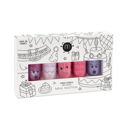 Nailmatic Kids Party Set of 5 Nail Varnishes - Sheepy, Polly, Cookie, Kitty and Piglou -listing