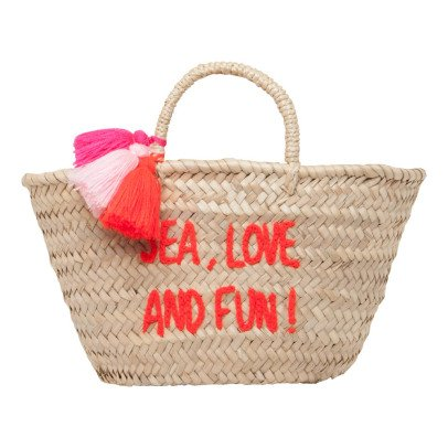 Rose in April Sea, Love and Fun Embroidered Pompom Basket-listing