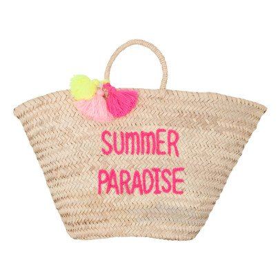 Rose in April Adult Summer Paradise Embroidered Pompom Basket-listing