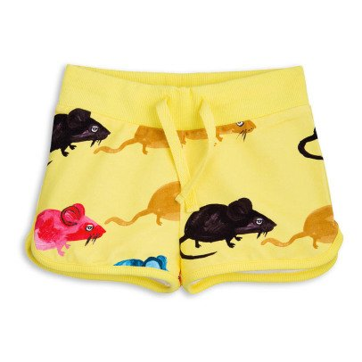 Mini Rodini Mr Mouse Organic Cotton Fleece Shorts-listing