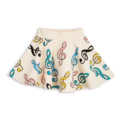 Mini Rodini Clefs Organic Cotton Fleece Skirt-listing