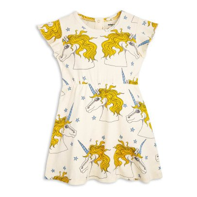 Mini Rodini Organic Cotton Unicorn Ruffled Dress-listing