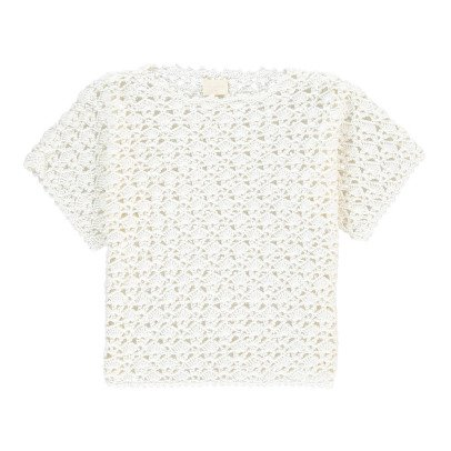 Cataleya Organic Cotton Short Sleeve Star Crochet Jumper-listing