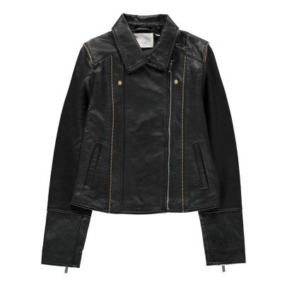 UNE FILLE today I am Leather Detail Zip-Up Jacket-listing