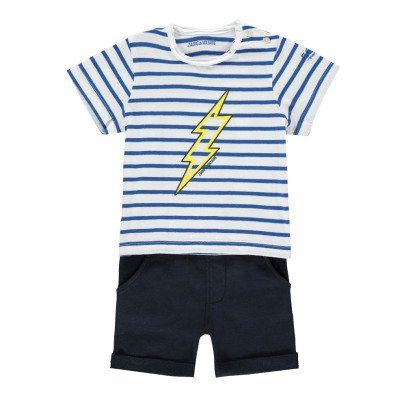 Zadig & Voltaire Clyde Striped Lightning T-Shirt + Shorts-listing