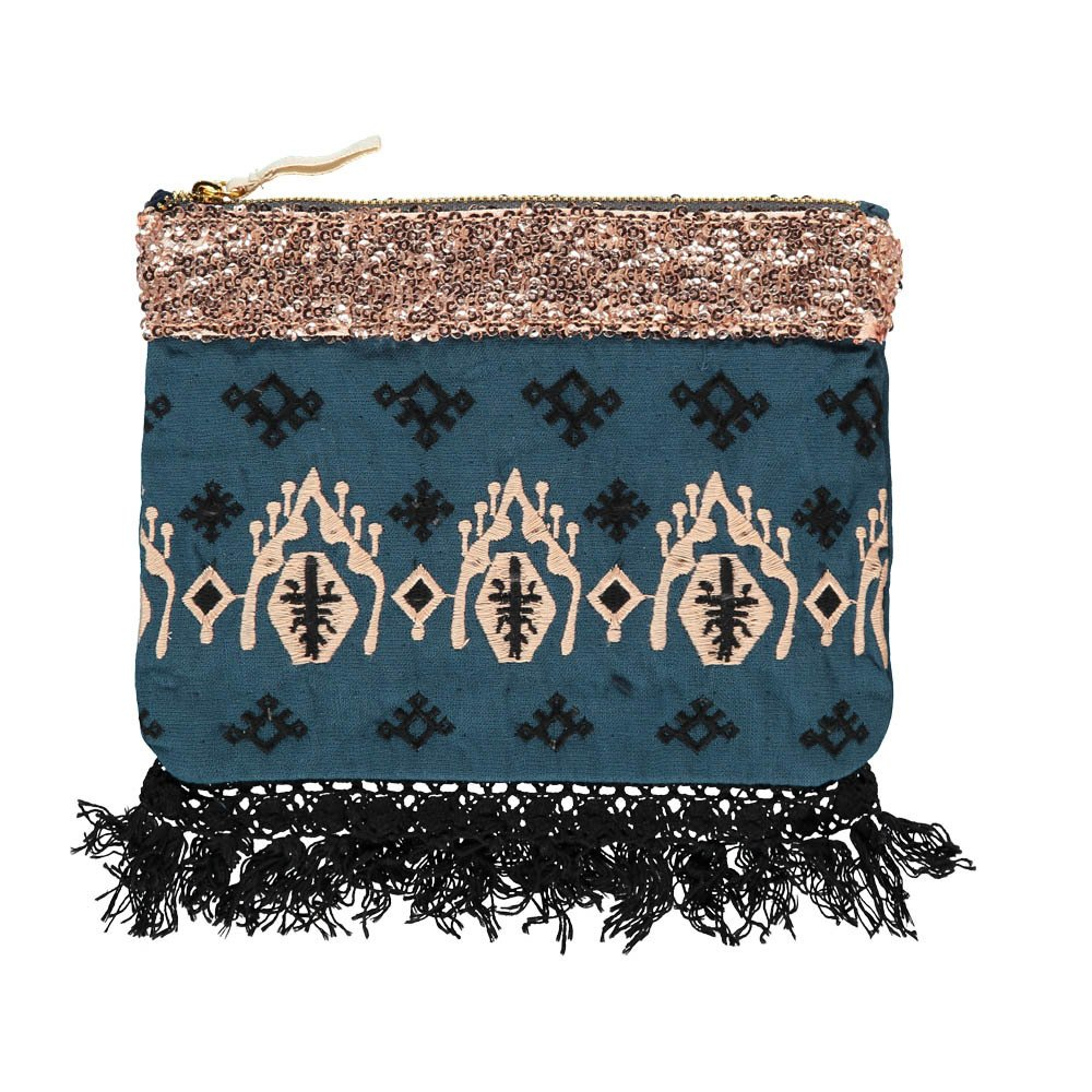 Louise Misha Olvera Sequin Linen and Cotton Pouch - Women's Collection-product