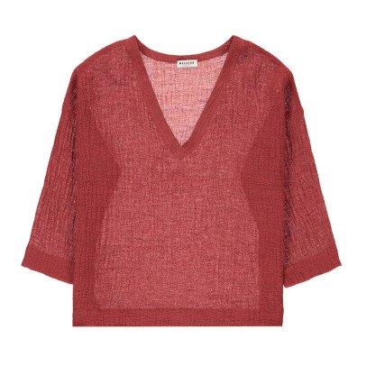 Masscob V-Neck Linen and Cotton Blouse-listing