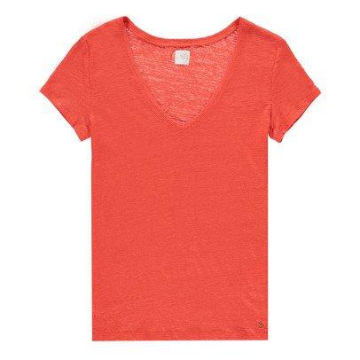 Des petits hauts Zephos V-Neck Linen T-Shirt-listing