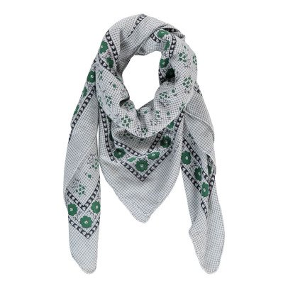 Soeur Flower Checked Cotton Scarf-listing