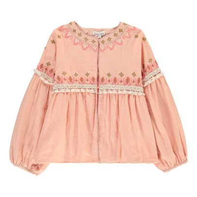 Louise Misha Ubud Pompom Embroidered Cottn and Linen Jacket-product