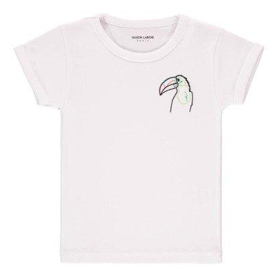 Maison Labiche Camiseta Bordada Pájaro Blanco-listing