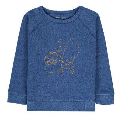 Maison Labiche Sweatshirt L.A Mains bestickt  Blau-listing