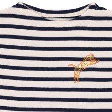 Maison Labiche Gestreiftes T-Shirt Tiger Stickerei  Navy-listing