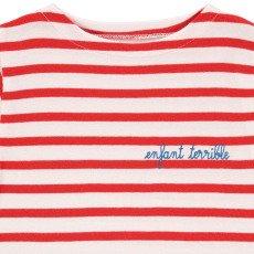 Maison Labiche Camiseta Bordada Rayas Infantil Terrible Rojo-listing