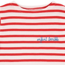 Maison Labiche Terrible Child Embroidered Stripe T-Shirt Red-listing