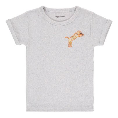 Maison Labiche Meliertes T-Shirt Tiger Stickerei  Blassblau-listing