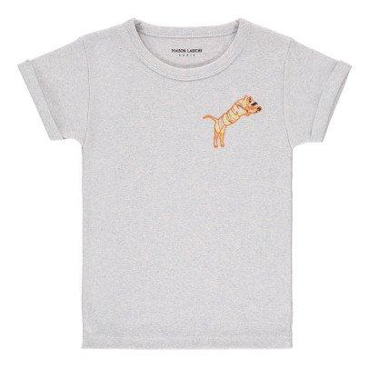 Maison Labiche Tiger Embroidered Marl T-Shirt Pale blue-listing