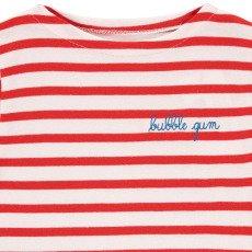 Maison Labiche Camiseta Bordada Rayas Bubble Gum Rojo-listing